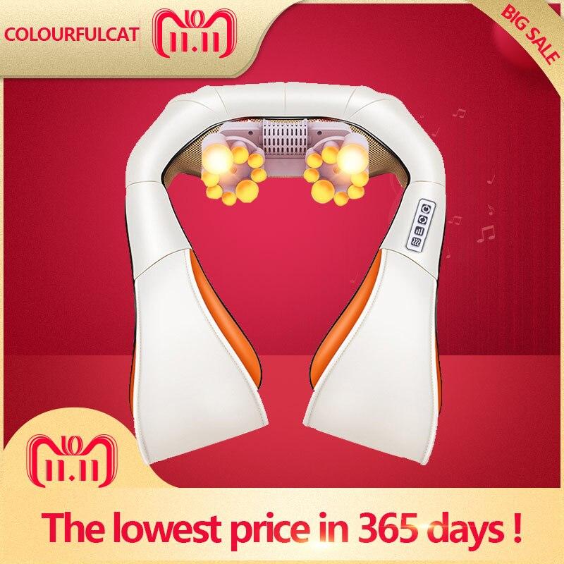 Masajeador de cuello y espalda Cervical Shiatsu chal rodillo eléctrico dispositivo de calor Manual de China máquina de masaje de coche para el hogar