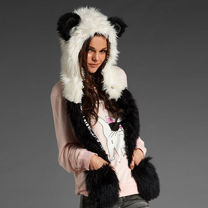 Women's Winter Hats Faux Fur Hoods Hat Cap Hats With Scarf Paws Sets Warm Caps Beanies Panda Skullies Wolf Hat For Women And Men skullies hot sale candy sets color pointed hat knitting hat sets hat cap 1866951
