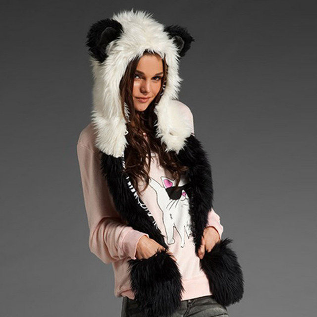 Women's Winter Hats Faux Fur Hoods Hat Cap Hats With Scarf Paws Sets Warm Caps Beanies Panda Skullies Wolf Hat For Women And Men
