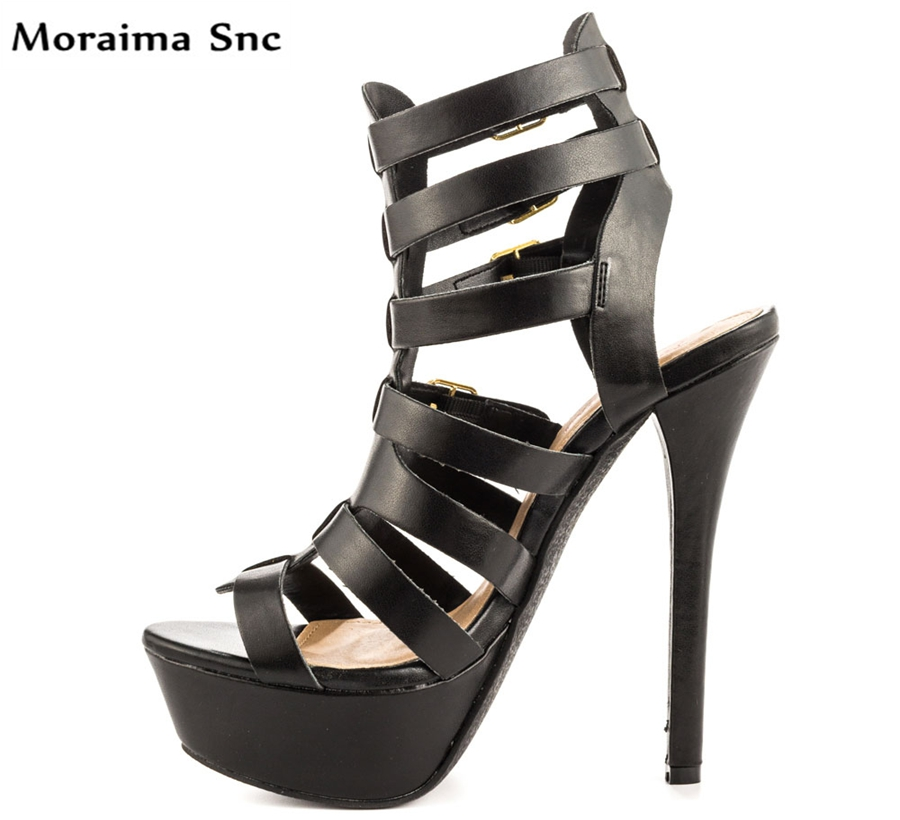 Moraima Snc Newest sexy women sandals Slingback high platform open toe Ankle cross-tied buckle strap thin high heel moraima snc newest sexy women black string bead concise type sandals open toe thin high heel ankle strap hook solid party shoes