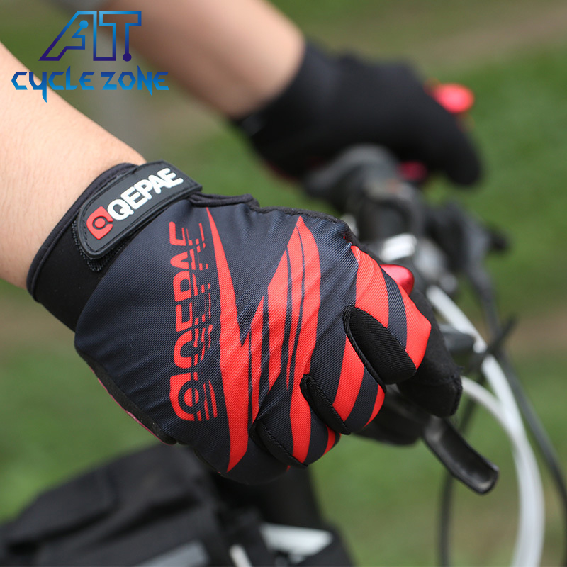 QEPAE Silicone Gel Full Finger Outdoor Sport Cycling Gloves Touch Screen Bike Flash/Face Style Breathable Motorcycle Gloves