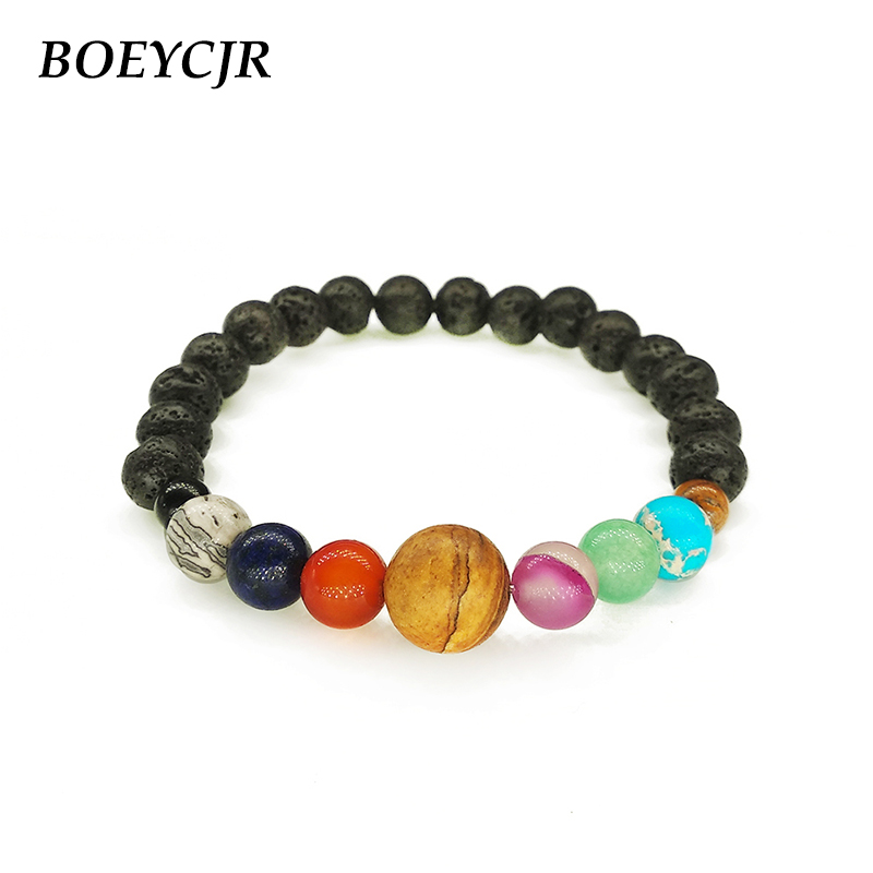 BOEYCJR 9 Planets Universe Solar Galaxy System Bracelet Natural Stone Bead Energy Bangle & Bracelet For Women or Men Jewelry ...