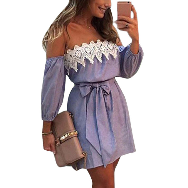 New Sexy Elastic Off Shoulder Blue Striped Mini Dress With Belt Women Girl Casual White Party Dress  S-XXL