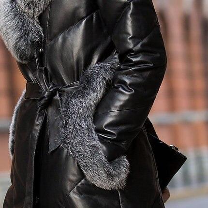 Col Renard Canard Femmes Manteaux Mouton Mk0044 2019 Nouveau Véritable Taille De Cuir Grande Veste Peau Duvet Naturel Marque Black En Femelle Fourrure qvqFAzO