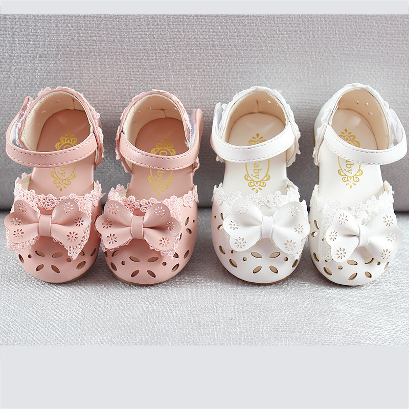 Newest summer toddler sandals 2020 fashion leathers sweet children sandals for girls toddler baby breathable hoolow out bow shoes