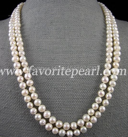 White Pearl Necklace Long Pearl Jewelry - 46 Inches 7-8mm Genuine Freshwater Pearl Necklace - Free Shipping