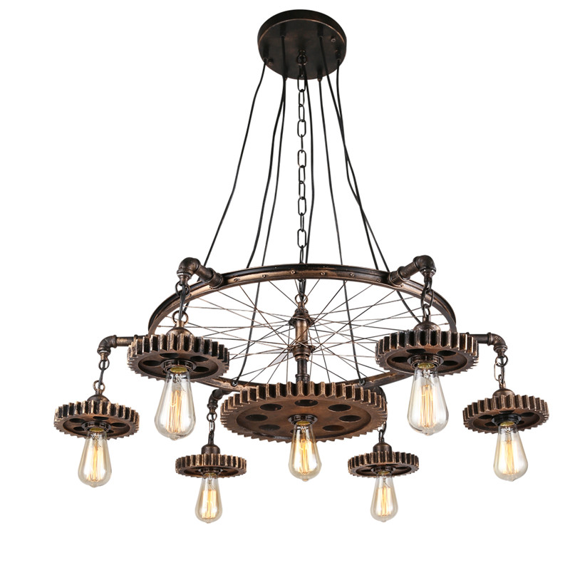 Лофт стиль подвесные светильники Шестерня подвесной светильник светильники с лампой Эдисона Ретро арт деко освещение водопровод огни колесо лампа