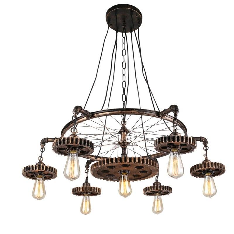 Loft Style Pendant Lights Gear Suspension Luminaire Edison Light Fixtures Retro Art Deco Lighting Water Pipe Lights Wheel Lamp