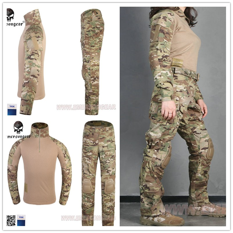 NEW EMERSONGEAR Tactical  Woman G3 Combat uniform pants&shirt airsoft Multicam Military Camouflage hunting Ghillie Suits clothes emersongear g3 combat uniform shirt