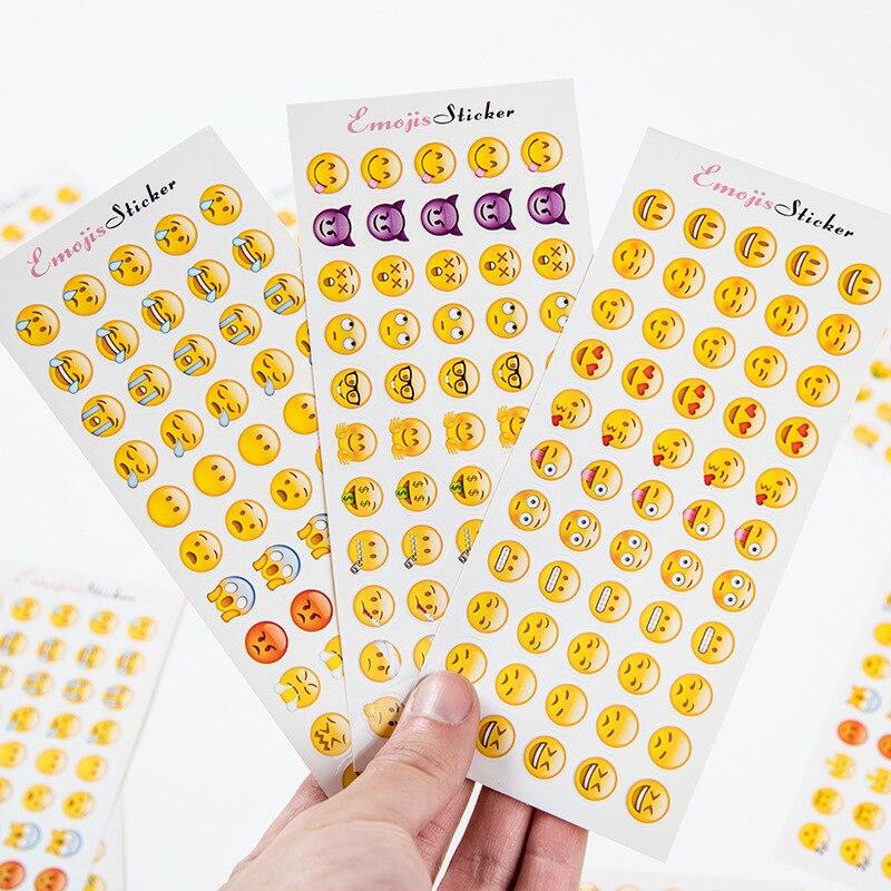 TD ZW 12 Sheets 660 Dys Cut Emoji-klistermärke för bärbar dator Notebook Meddelande Letter Stickers Baby Kids Reward Lovely Toy Stickers