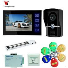 Yobang Security freeship 7″ Screen Recording Video Intercom Door Phone System+Outdoor RFID Access Door Camera + Electric Lock