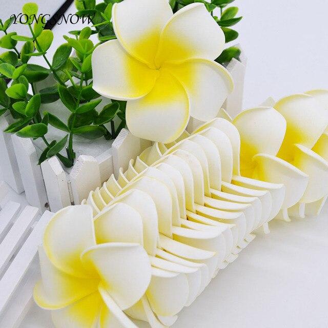 10 개/몫 Plumeria 하와이 PE 거품 Frangipani 인공 꽃 머리 장식 꽃 계란 꽃 웨딩 장식 파티 용품