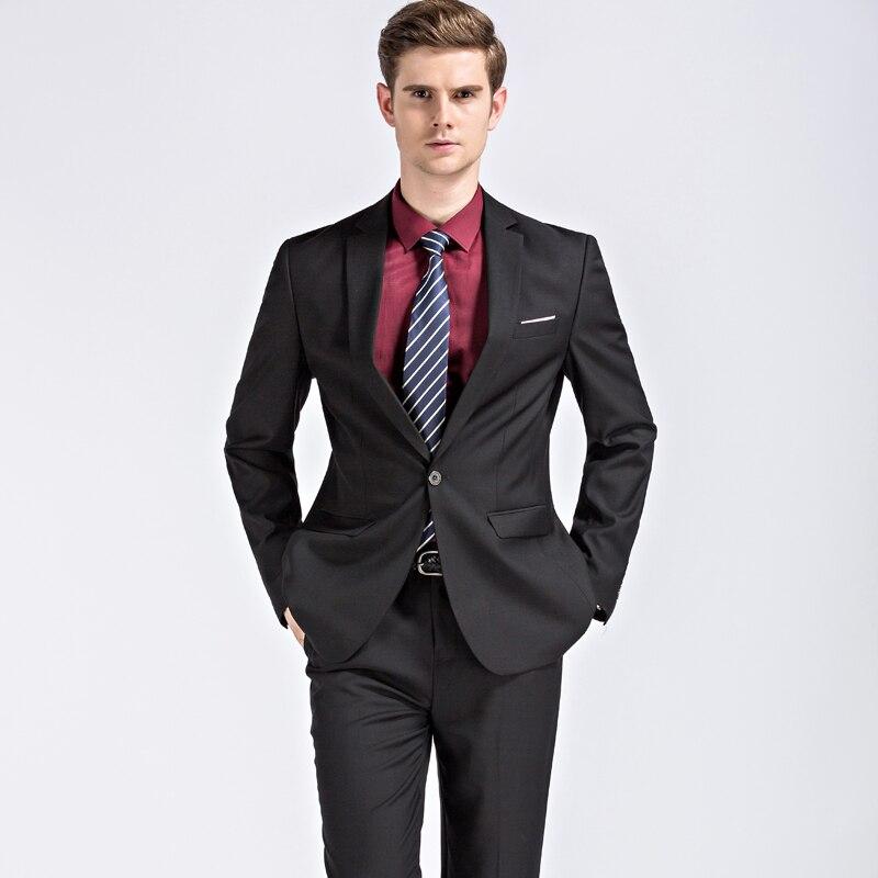 Men s Modern Fit Two Button Two Piece men Suit Jacket Pants Mens Black Suits Classic