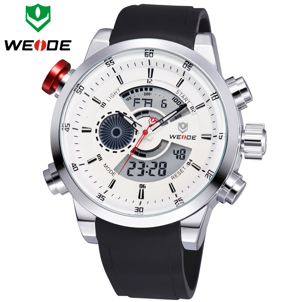 2017 Watches Men Top Luxury Brand WEIDE Men Sports Waterproof Watch Men's Quartz Analog LED Clock Man Army Military Wristwatch weide army watches men s steel business luxury brand quartz military sport watch analog digital display wristwatch sale items