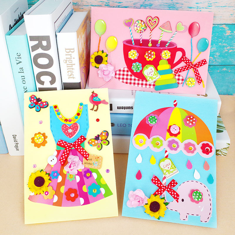 Kids DIY Handmade Greeting Card 3D Handmade Sticker Card Material Package DIY Craft Toys Children Christmas New Year DIY Card