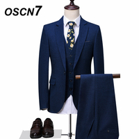 OSCN7 Navy Blue Tailor Made Suit Men 3 Piece Fashion Wedding Suits for Men Slim Fit Leisure High Quality Customize Made Suit