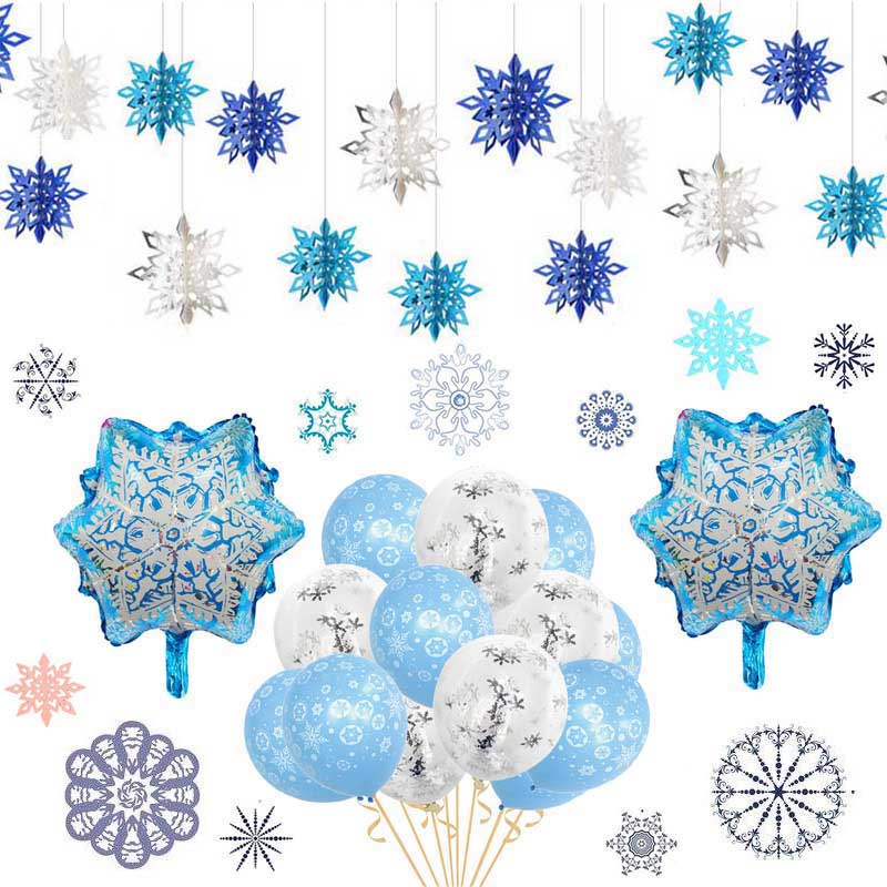Frozen Party Christmas Snowflakes Decorations 3D Hollow Snowflake Paper Garland Christmas Wall Hanging Decoration Winter Party