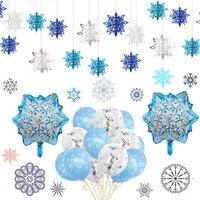 Adornos navideños para el hogar, decoraciones de copos de nieve, guirnaldas de papel ornamento para árbol de Navidad, ventana colgante, decoraciones de invierno