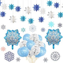 Frozen Party Christmas Snowflakes Decorations 3D Hollow Snowflake Paper Garland Wall Hanging Decoration Winter