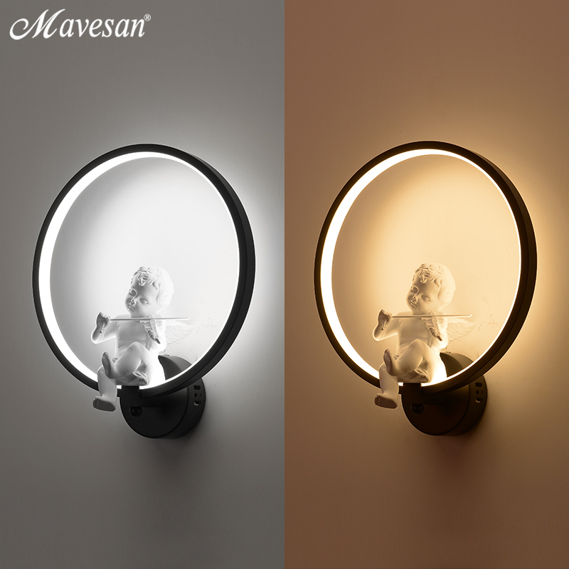 Image 5 - Hot selling  Wall Lamps indoor black white wall lighting Minimalist art Sconce Interior with angel Home Decoration wall-in LED Indoor Wall Lamps from Lights & Lighting