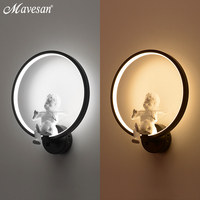 Hot Selling Wall Lamps Indoor Black White Wall Lighting Minimalist Art Sconce Interior With Angel Home