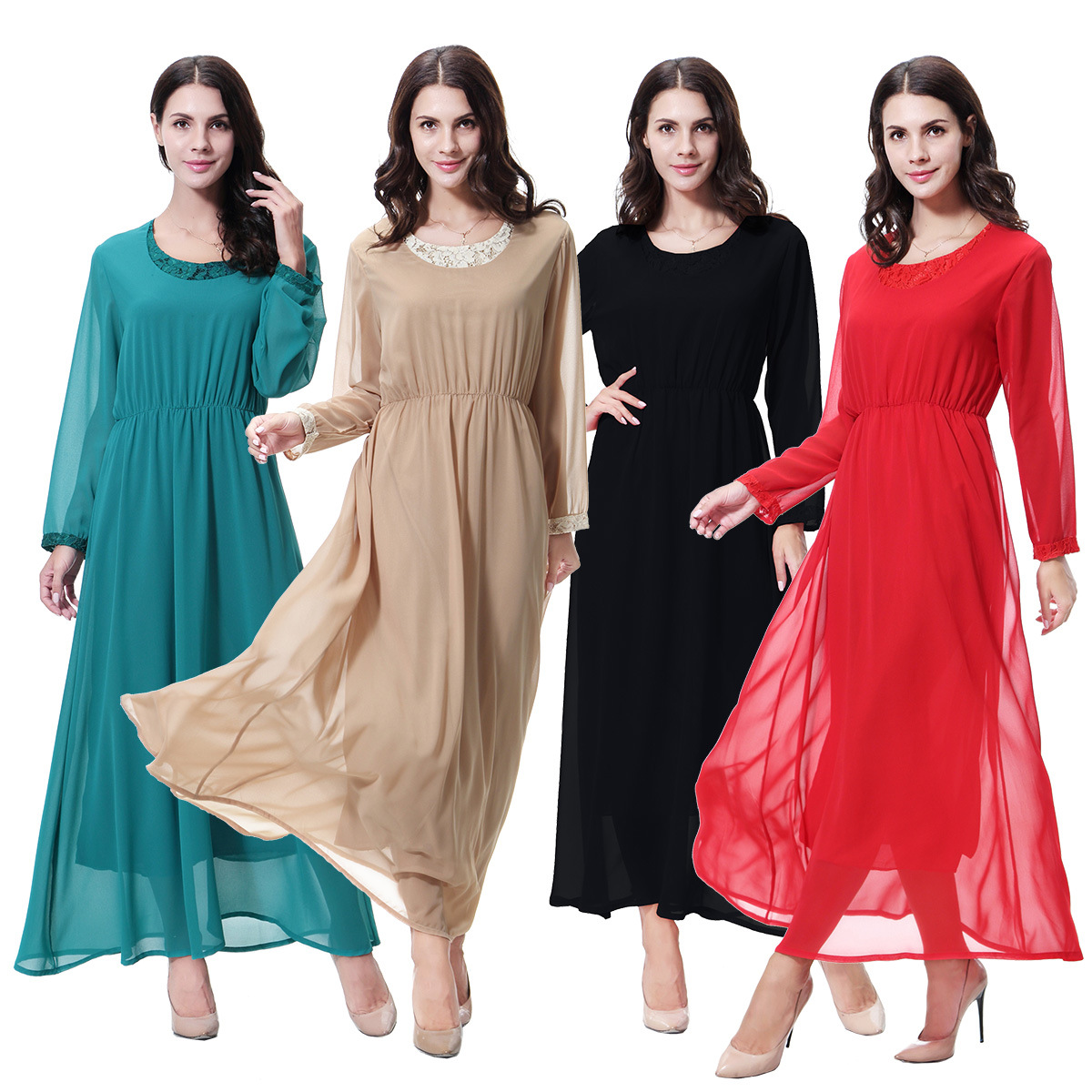 Chiffon Lace Dress Abaya Muslim Women Evening Dress Islamic Abaya Women Dress  Dubai Abaya Women