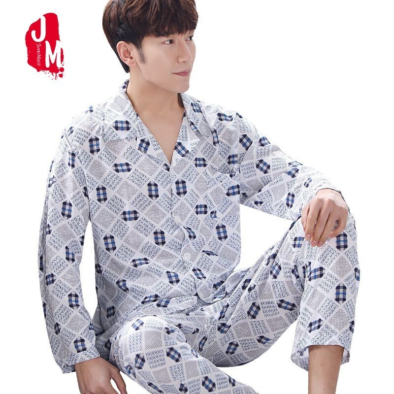 Sleepwear Man Pajamas-Set Nightwear Winter Cotton Plus-Size Autumn XXXL Plaid Men