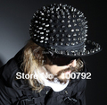 Free Shipping unisex  cool handmade black  rivet spike studded  baseball cap punk rock hiphop street dancing  snapback