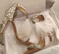 2018 new high heels fashion feather strap sexy diamond fine with a single shoe female.