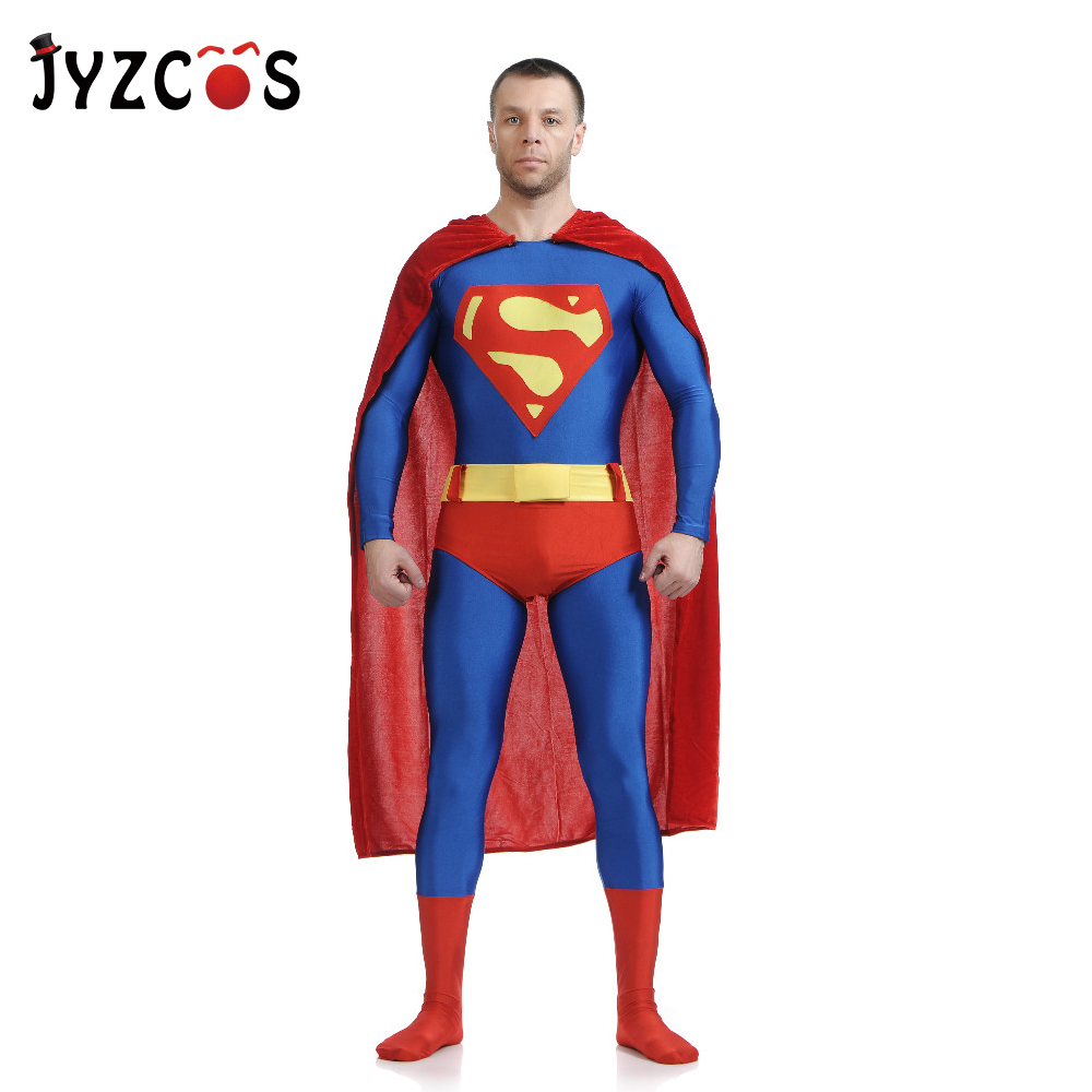 JYZCOS Adult Superman Costume Movie Superhero Cosplay Costume Purim Spandex Lycra Zentai Suit Halloween Carnival Costumes Men