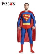 JYZCOS Adult Superman Costume Movie Superhero Cosplay Costume Purim Spandex Lycra Zentai Suit Halloween Carnival Costumes Men