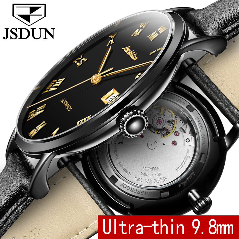 Automatic Mechanical Watch JSDUN Top Brand Luxury Tourbillon Watch Leather Men Watches Business Water Resistant Auto Date Clock