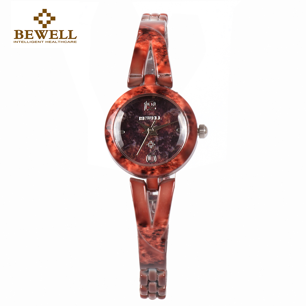 BEWELL Women Small Stone Bracelets Watches With Round Case Male Gem Jewelry Watch Beautiful Jade Bracelet Clock For Grils 076A