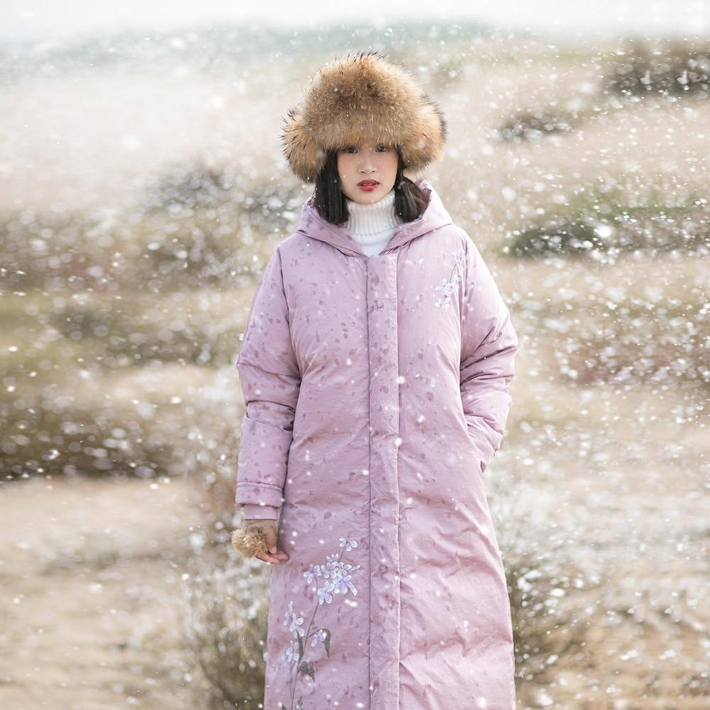 Irinaw724 À Purple Capuche Peint Veste Nouvelle Longue Chaud D'impression Manteau La Main Au Femmes D'hiver 2018 Arrivée Vintage Light rwrUXB