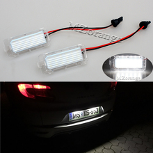 купить 2X No Error 18LED SMD3528 Car LED License Plate Lights For Ford Focus DA3 DYB Fiesta JA8 Mondeo Mk4 Mk5 C-Max S-Max Kuga Galaxy дешево