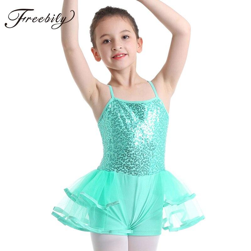 Freebily Kids Girls Sleeveless Turtle Neck Ballet Dance Dress Gymnastics Leotard Dancewear Skating Dancing Outfit