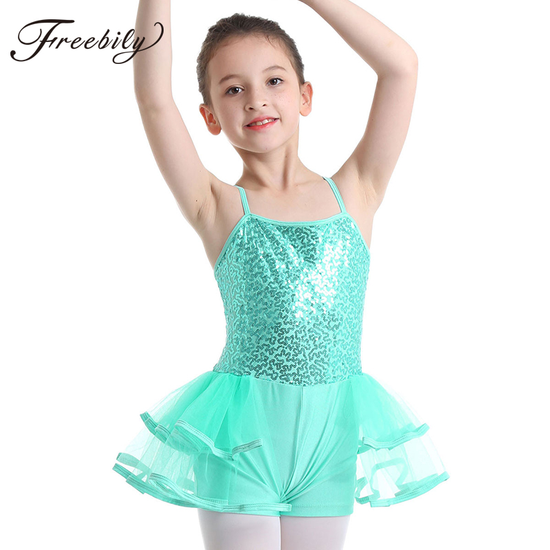 Freebily Kids Girls Sleeveless Sequins Tulle Ballet Dance Gymnastics Leotard Dress
