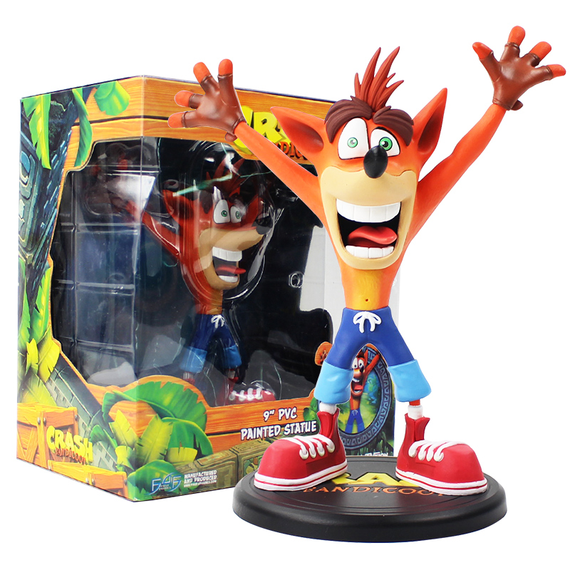 23cm Crash Bandicoot Figure Toy Bandicoot Wolf Painted Statue Great Gift For Kids