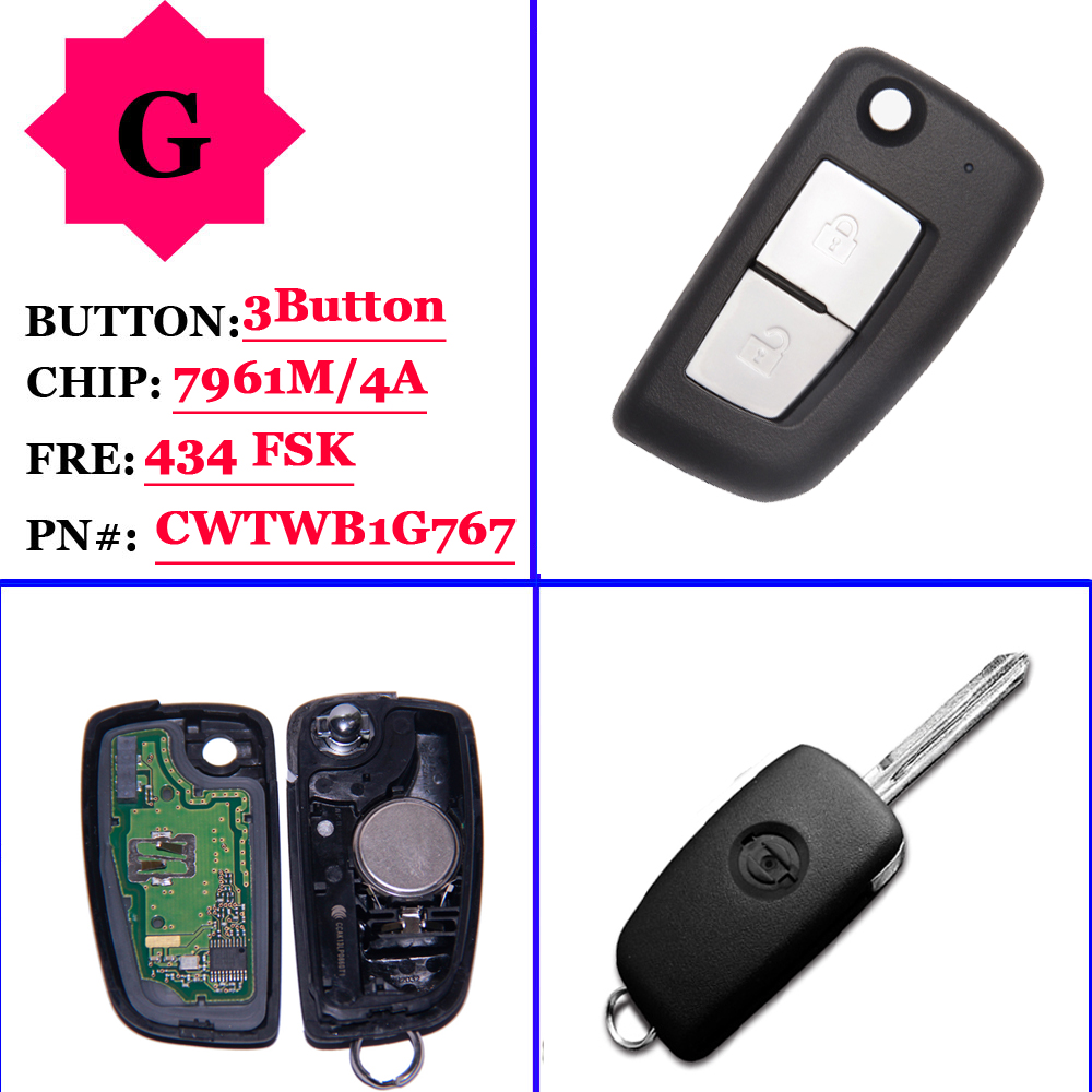 (1Pcs)2 Buttons 433MHz PCF7961M Flip Remote Key For Nissan Qashqai J11 Pulsar C13 Juke F15 X-Trail T32 Micra CWTWB1G767