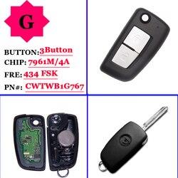 (1 sztuk) 2 przyciski 433 MHz PCF7961M zdalny klucz składany dla Nissan Qashqai J11 obsługi Pulsar C13 Juke F15 x trail T32 Micra CWTWB1G767 w Alarm antywłamaniowy od Samochody i motocykle na