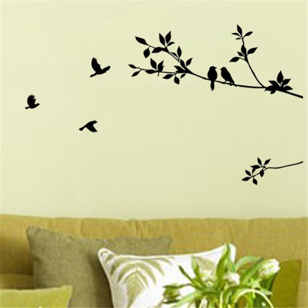 Birds On The Tree Wall Stickers Home Decor Adhesive Wall Art Mural ...