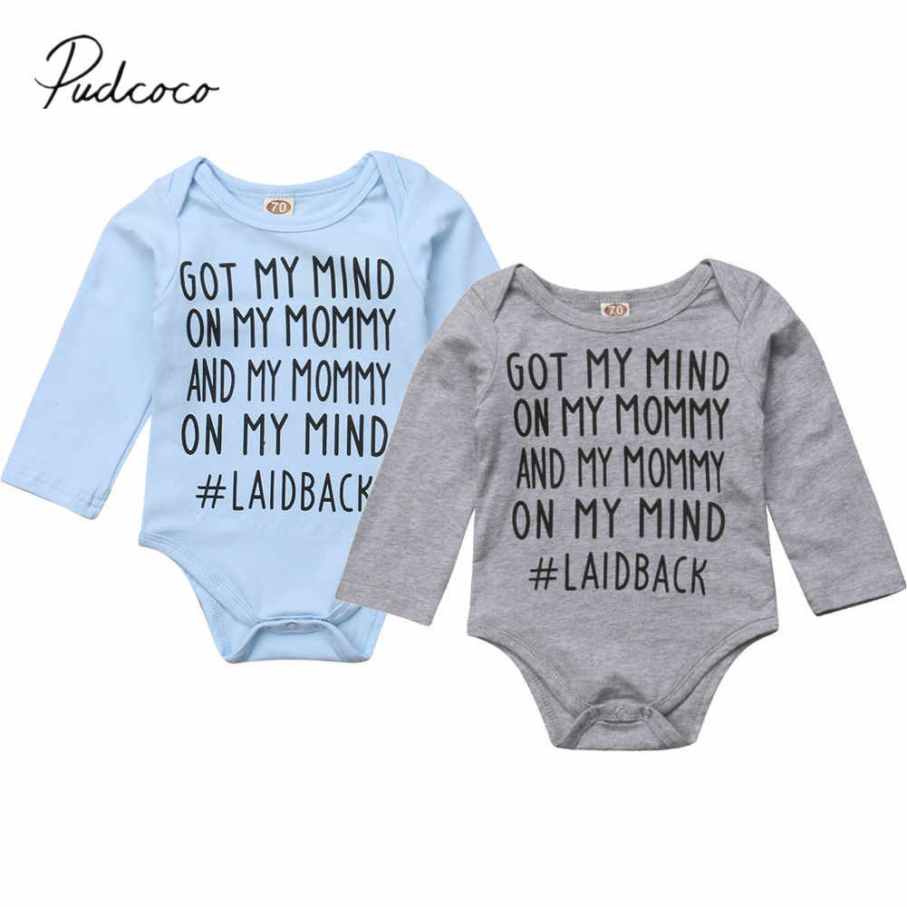 2018 Brand New 0-18M Toddler Baby Girls Boys Bodysuit 2 Colors Letter Long Sleeve Cotton Causal Jumpsuits Autumn Winter Playsuit