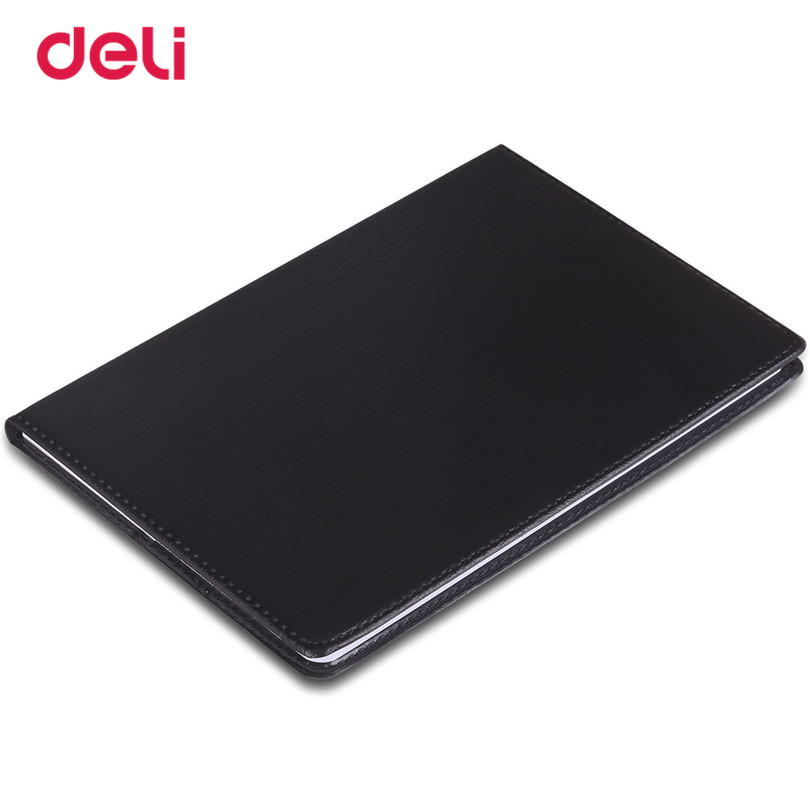 Deli Office Stationery Leather Notebook 25K notebooks 80 sheets business black notebook Diary Journal Sketchbook Refill Paper deli 3164 notebook business meeting diary book with a gel pen black leather stationery thick notebook