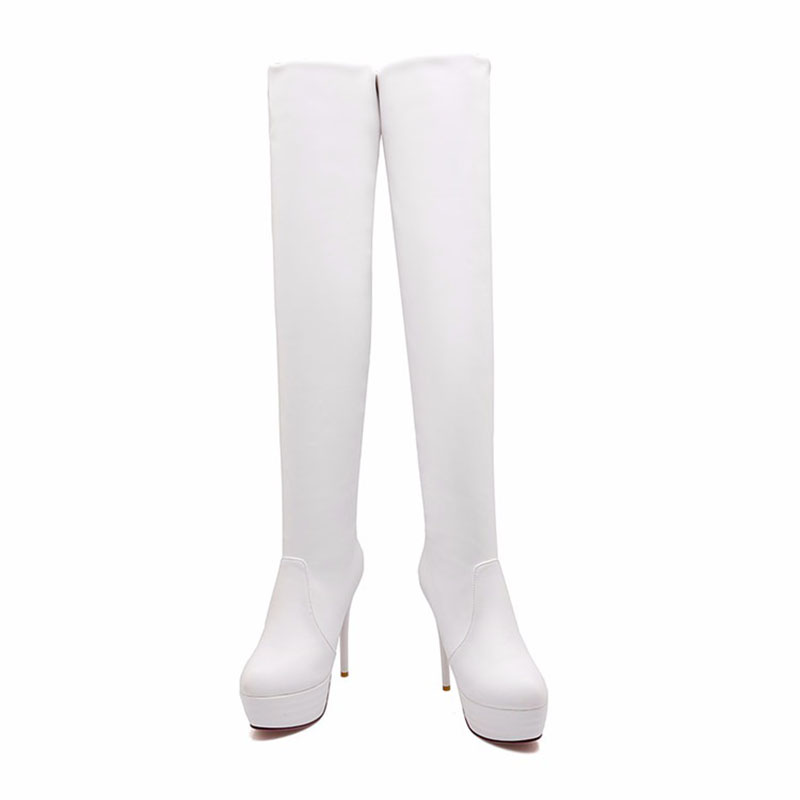 Customized Women Boots Autumn Winter Shoes Woman Round Toe High Heel Over The Knee Thigh High Long Boots Plus Size 2017 women thigh high boots over the knee motorcycle boots winter and autumn woman shoes plus size 4 5 10 5women s boots