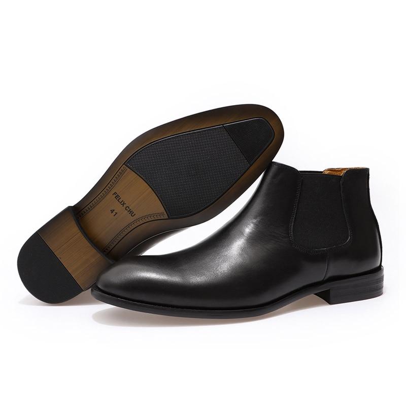 2019 bottes Chelsea en cuir véritable chic hommes de mode sans lacet bout simple noir bottine hommes haut robe top chaussures taille 39 46 - 4