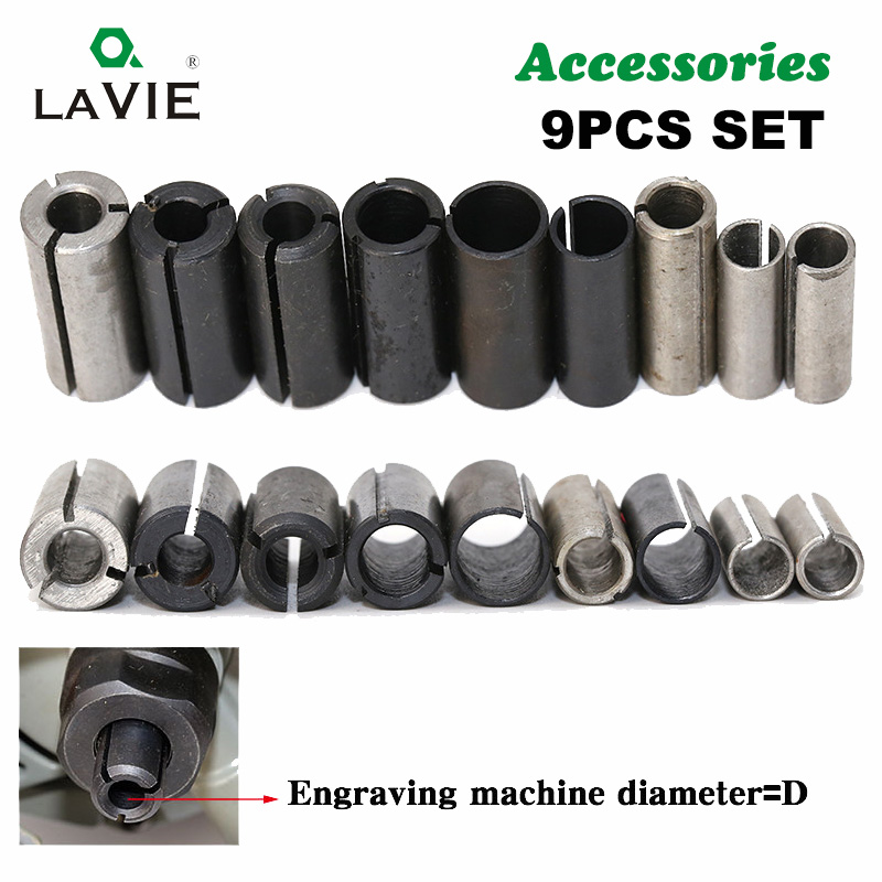 LA VIE 9pcs High Precision Adapter Collet CNC Router Bit Tool Adapters Milling Cutter Holder 6mm 6.35mm 8mm 10mm 12mm 12.7mm 402