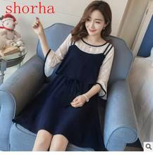 Maternity shirt New fake two flounces Sleeve dresses Summer Dress Stripped Pregnancy Dress For Pregnant Women Casual Styles(China)