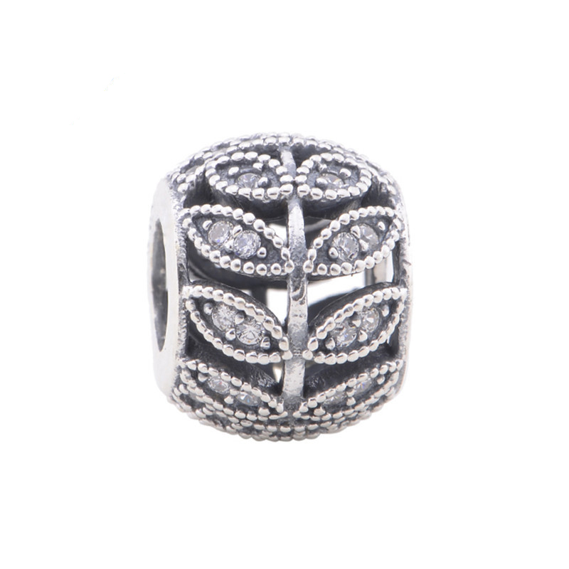 Fits Pandora Original Charms Bracelet 925 Sterling Silver Beads Sparking Leave European Charm DIY Women Jewelry