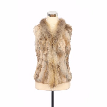 ZY88033 Real Knitted Rabbit Fur With Raccoon Dog Fur Collar  Warm Natural Color Waistcoat Outerwear V-Neck Sleeveless Vest Gilet