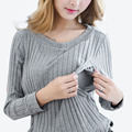 Breastfeeding Cotton Tee Breast Feeding Clothes Side Slit T Shirt 2017 Maternity Long Sleeve Nursing Clothing Top M-XXL